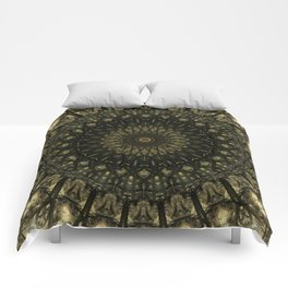 Detailed mandala in light and dark brown tones Comforters