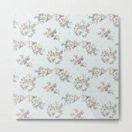 Pastel blue brown pink vintage roses polka dots pattern Metal Print