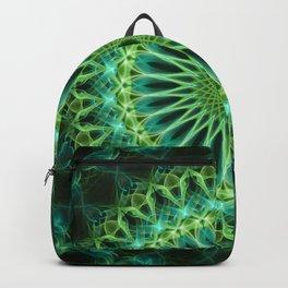 Yellow and green glowing mandala Backpack