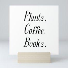 Plants, Coffee and Books Mini Art Print