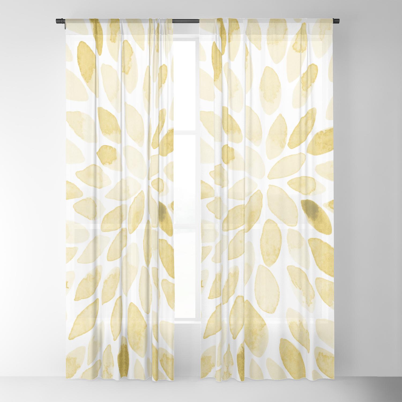 Watercolor Brush Strokes Yellow Sheer Curtain By Wackapacka