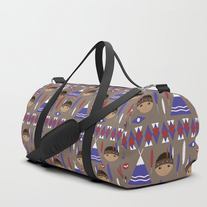 Seamless kids cute American indian native retro background pattern Duffle Bag