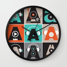 Audio vintage music typography illustration Wall Clock