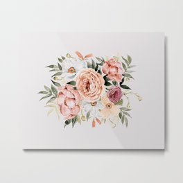 Muted Peonies and Poppies Metal Print