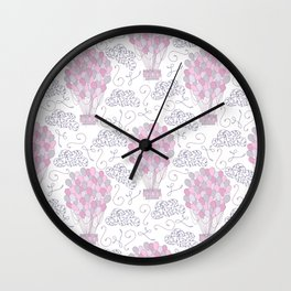 Vintage hot air balloons line drawing in pink and purple Wall Clock