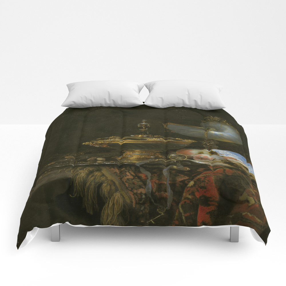 Still Life With Holbein Bowl, Nautilus Cup, Glass … Comforter by Ortolanastudio CMF7628632