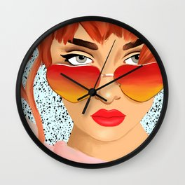 The Girl With The Heart Glasses Wall Clock