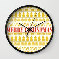 merry christmas Wall Clocks featuring Christmas Merry! by Fimbis