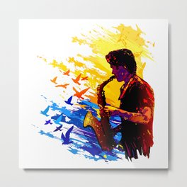 Colorful music player with flying birds.Musician portrait, saxophonist performance Metal Print