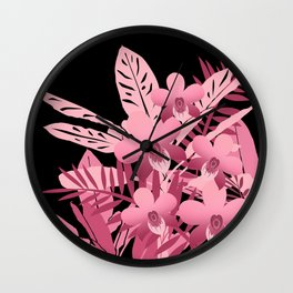 Bouquet of pink tropical plants 2 Wall Clock