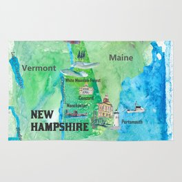 USA New Hampshire State Travel Poster Map with Touristic Highlights Rug