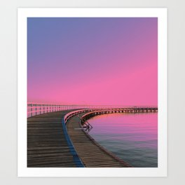 Neon Candy - Pink Sky Waterfront At Dawn Art Print
