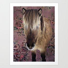 Icelandic pony with rosy posies Art Print