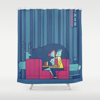 50s Shower Curtains featuring Diner by Ale Giorgini