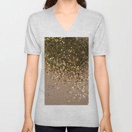Sparkling Gold Brown Glitter Glam #1 (Faux Glitter) #shiny #decor #art #society6 Unisex V-Neck