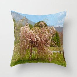Weeping Pink Cherry Tree Throw Pillow