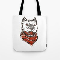 pitbull Tote Bags featuring Pitbull by VentureDesign