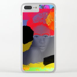 Woman Sited With Hat and Flowers Clear iPhone Case