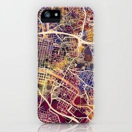 Glasgow City Scotland Street Map iPhone Case