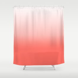 Living coral to white Shower Curtain