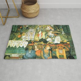 Diego Rivera Friday of Sorrows on the Canal Santa Anita, Mexico with Calla lilies landscape painting Rug