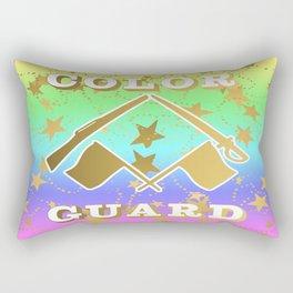 Color Guard Rainbow and Gold Stars Design Rectangular Pillow