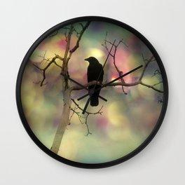 Crow Dreams In Colors Wall Clock