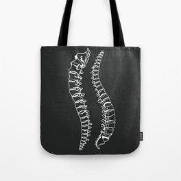 Vertebrae on Black Tote Bag
