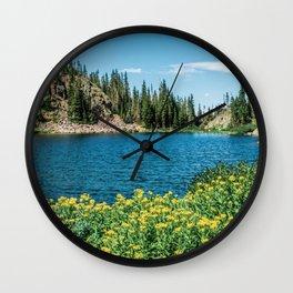 Yellow Flower Lake // Beautiful Daylight Evergreen Mountain Landscape Photograph Wall Clock