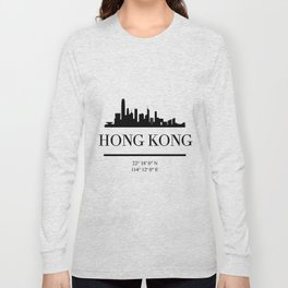 HONG KONG CHINA BLACK SILHOUETTE SKYLINE ART Long Sleeve T-shirt