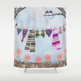 winter's over clothesline with juncos Shower Curtain