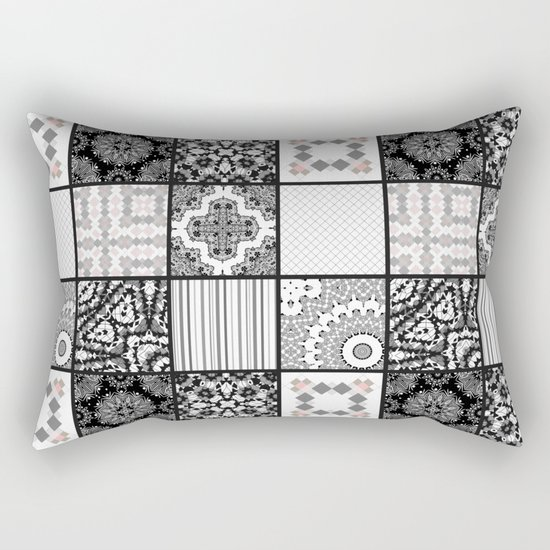 Patchwork . Squares of black, gray Patterns . Rectangular Pillow