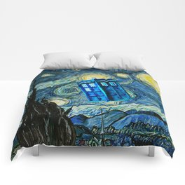Flying Tardis doctor who starry night iPhone 4 4s 5 5c 6, pillow case, mugs and tshirt Comforters