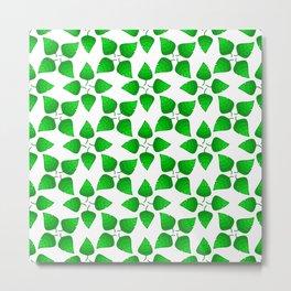 Chipped Leaf Simple Green Leaf Vegetation Pattern Metal Print