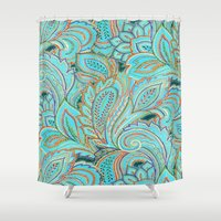paisley Shower Curtains featuring paisley, paisley by Ariadne