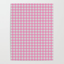Argyle Pattern   Pink and Grey Poster