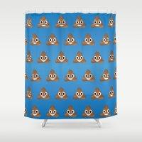 poop Shower Curtains featuring Smiley Poop by Bryan Vogel