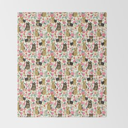 Yorkshire Terrier cute florals must have gifts for dog lover yorkie owners delight secret gifts art Throw Blanket
