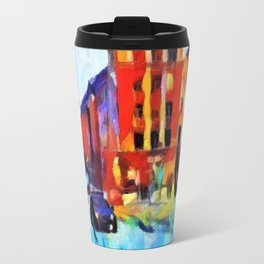 A police car rides in the winter in the evening city. Travel Mug