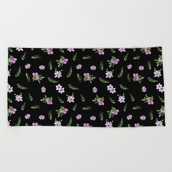 Seamless watercolor small flowers pattern on black Beach Towel