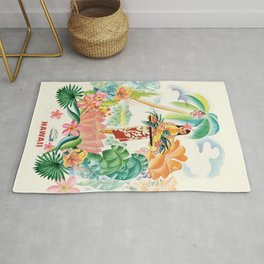 Vintage Hawaiian Travel Poster Rug