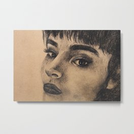 Graphic art, coal portrait brunette girl Metal Print