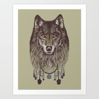 wind Art Prints featuring Wind Catcher Wolf by Rachel Caldwell