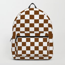 White and Chocolate Brown Checkerboard Backpack