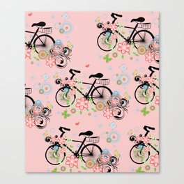 Bicycle and Colorful Floral Ornament Canvas Print