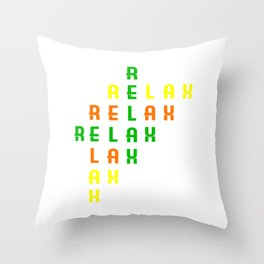 "Colorful combination of green yellow and orange tee design with text ""Relax"".Creative way to tell it Throw Pillow"