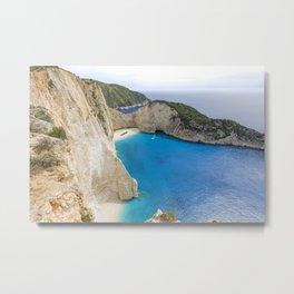 Navagio Beach with Shipwreckon Zakynthos Island, Greece Metal Print