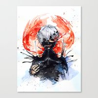 tokyo ghoul Canvas Prints featuring Tokyo Ghoul - Kaneki Ken by Kayla Phan