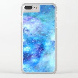 Dreamlike Blue Interstellar Dust Clear iPhone Case