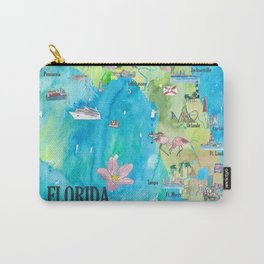 USA Florida State Fine Art Print Retro Vintage Map with Touristic Highlights Carry-All Pouch